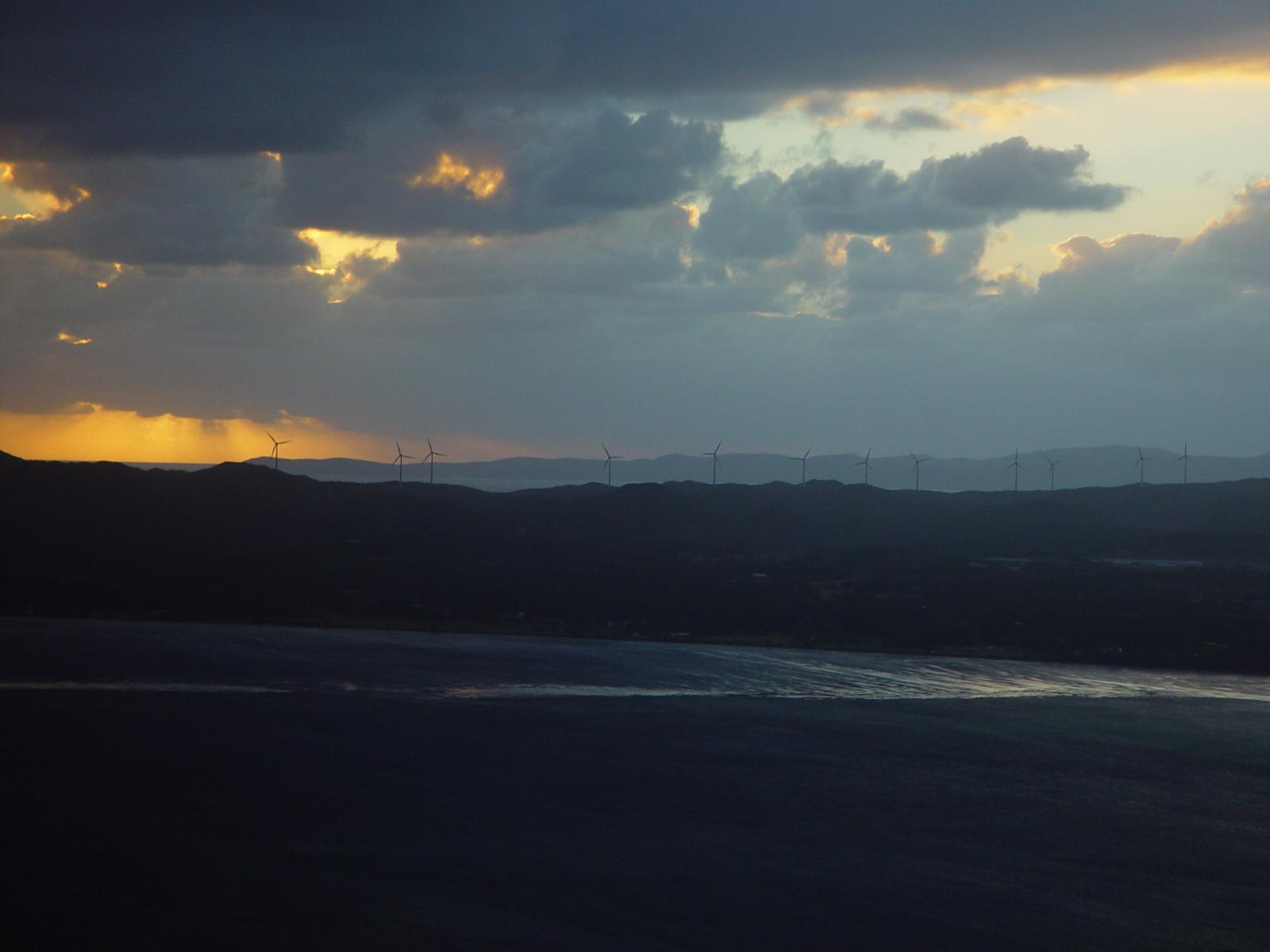 Albany wind-farm against the sunset, Western Australia